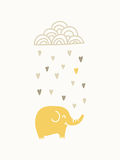Elephant under raining cloud. Vector illustration Stock Image