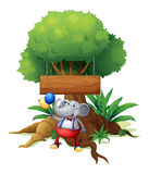 An elephant under the tree with a wooden signboard Royalty Free Stock Image