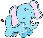 Elephant Vector Illustration. Cute Blue Elephant Vector Illustration Royalty Free Stock Photography