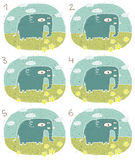 Elephant Visual Game. For children. Illustration is in eps8  mode! Task: Find two identical images (match the pair)! Answer: No. 2 and 6 Stock Photography