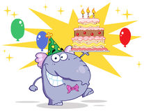 Elephant walking with birthday cake and balloons Stock Images