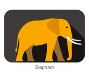 Elephant walking side flat 3D icon design. Vector illustration Royalty Free Stock Image