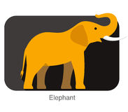 Elephant walking side flat 3D icon design. Vector illustration Royalty Free Stock Images