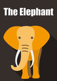 Elephant walking to you, flat 3D icon design. Vector Stock Images