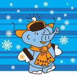 Elephant is walking in the winter. Elephant put on hat, scarf, mittens and walking in the winter. Snowflakes are around him Royalty Free Stock Images