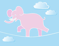 Elephant Walks By Tightrope. Circus elephant balancing on a tightrope above the clouds. Illustration with funny cartoon animal Stock Photos