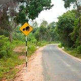 Elephant warning sign Stock Photos