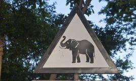Elephant warning sign Stock Photo