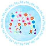 Elephant on watercolor background, vector  image. Elephant on blue watercolor background vector Royalty Free Stock Images