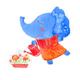 Elephant watering flowers Royalty Free Stock Photography