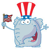 Elephant waving an american flag. Patriotic elephant wearing a hat and waving an american flag Stock Image