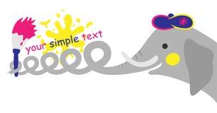 Elephant who writes words a brush. Illustration of an elephant who writes words a brush Royalty Free Stock Images
