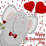 The elephant wishes happy Valentine's day. Stock Image