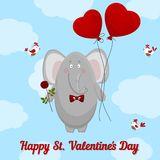 The elephant wishes happy Valentine's day. Stock Photography