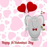 The elephant wishes happy Valentine's day. Stock Photos