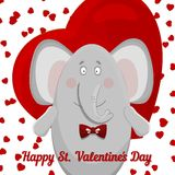 The elephant wishes happy Valentine's day. Royalty Free Stock Images