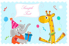 Elephant wishing giraffe happy birthday Stock Images