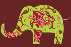 Elephant With Native Indian Ornament. Stock Photos