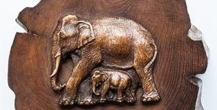 Elephant Wood. Elephant made from wood in north Thailand Stock Photo
