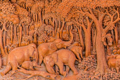 Elephant wood carve Stock Image