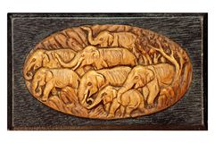 Elephant in wood carving Thai style Stock Photography