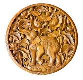 Elephant in wood carving Thai style Stock Image