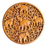 Elephant in wood carving Thai style Stock Photo