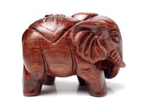 The elephant wood carvings. On white background royalty free stock photography