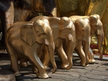 The elephant wooden craft. For Buddhist to show the respect to their believe Royalty Free Stock Photography