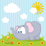 Elephant and worm vector Royalty Free Stock Photo