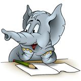 Elephant writing. Detailed colored illustration as vector Stock Photo