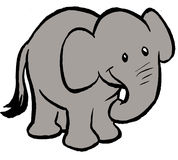 Elephant. A young elephant cartoon clip art illustration Stock Photo
