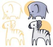 Elephant and zebra Royalty Free Stock Photos