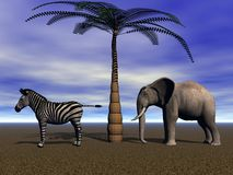 Elephant and zebra Royalty Free Stock Photo