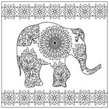 Elephant zentangle coloring page Stock Photos