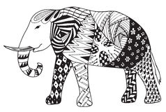 Elephant zentangle stylized vector, illustration, freehand penci Stock Images
