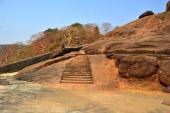 Elephanta海岛在印度使孟买陷下 图库摄影