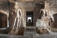 Elephanta Island caves. Near Mumbai in Maharashtra state, India stock photos