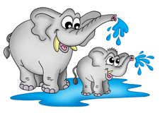 Elephants. Illustration of two elephants. One small a one big standing in water and playing vector illustration