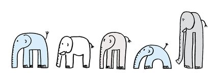 Elephants. Five isolated different elephants. vector image Stock Photos