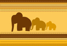 Elephants. Striped Background with Elephants Ornament Stock Photos