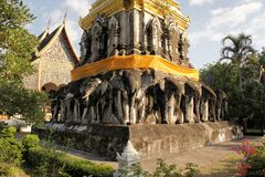 Elephants at Buddhist temple in Chiang Mai Royalty Free Stock Photo