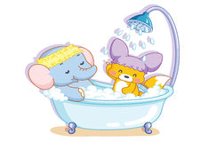 Elephants and cartoon squirrel was in the shower Royalty Free Stock Photo