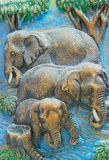Elephants Carved Royalty Free Stock Images