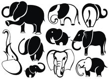 Elephants collection Royalty Free Stock Images