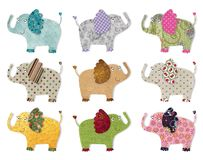 Elephants.  Digital quilting. Colorful graphic illustration for children Royalty Free Stock Images