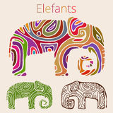 Elephants. Elephant hand painted with textured skin vector Royalty Free Stock Photos