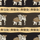 Elephants. Ethnic seamless background. Royalty Free Stock Photo