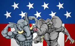 Elephants Fighting Concept. Elephants fighting, American politics election concept for Republican party infighting or primaries, primary election of candidates Stock Images