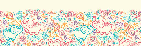 Elephants With Flowers Horizontal Seamless Pattern Royalty Free Stock Images